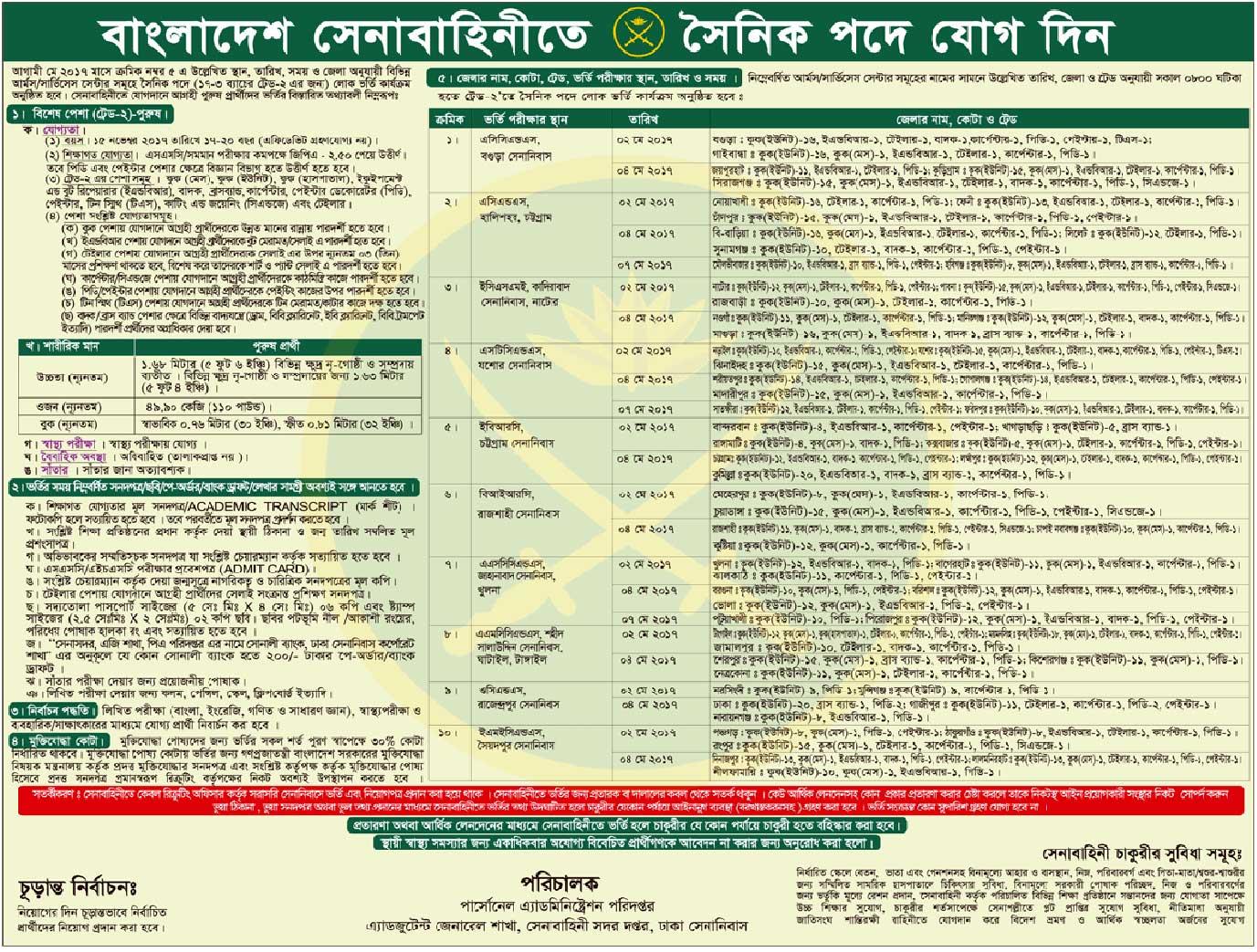 Bangladesh Army jobs Circular 2017
