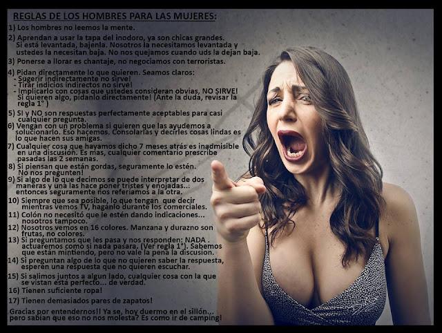 Reglas de los hombres para las mujeres (Humor)
