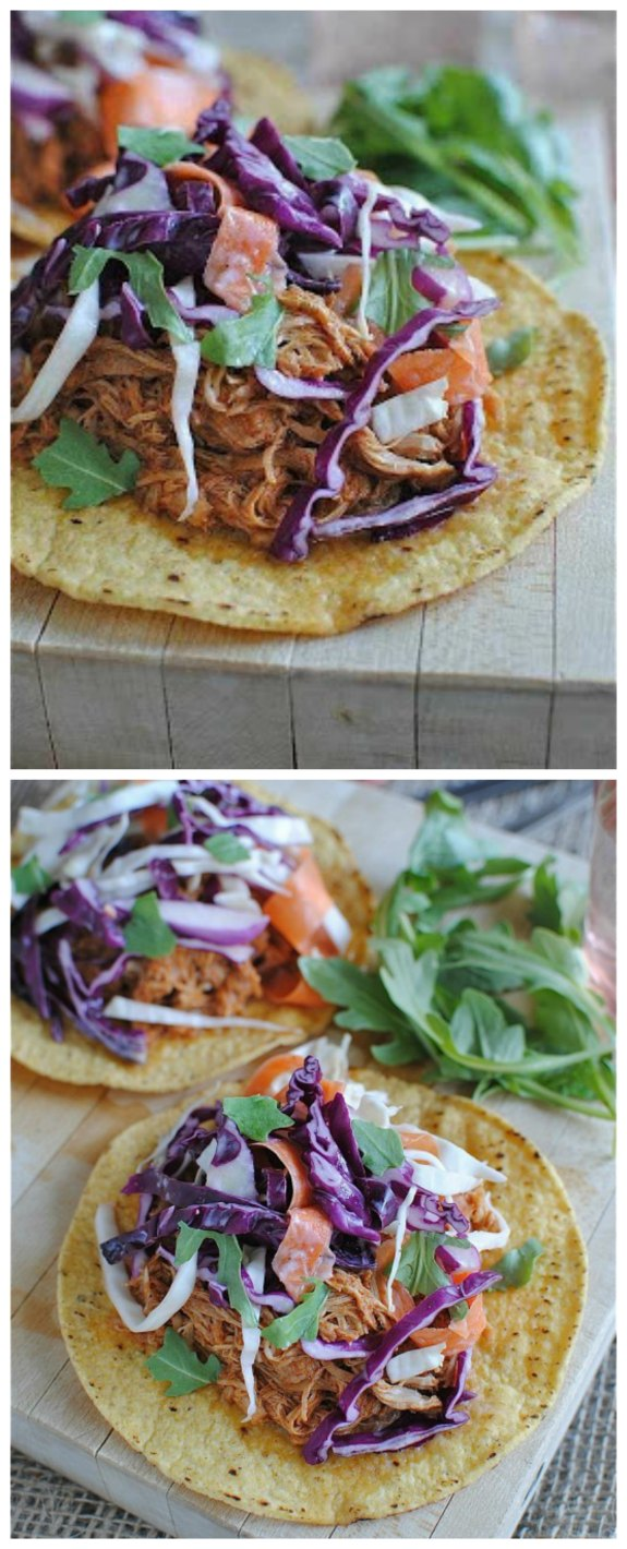 Slow Cooker Barbecue Chicken Tostadas with Cole Slaw from Bev Cooks featured on SlowCookerFromScratch.com