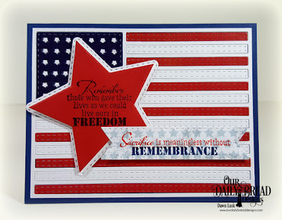 Our Daily Bread Designs Stamp Set: Remembrance, Paper Collection: Stars and Stripes, Custom Dies: USA Flag, Double Stitched Stars, Sparkling Stars, Double Stitched Pennant Flags