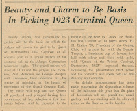 A newspaper clipping with the heading 'Beauty and Charm to Be Basis In Picking 1923 Carnival Queen.""
