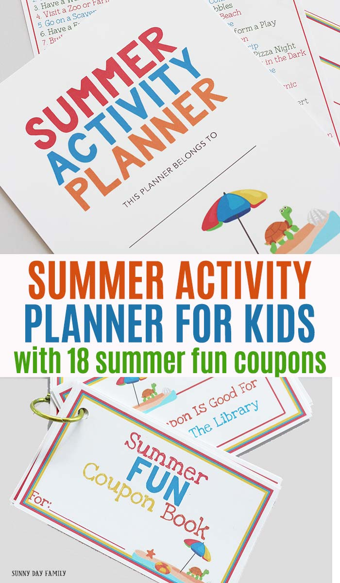 Keep track of your summer activities with this printable summer planner! Everything you need to plan a summer of fun including a printable summer coupon book! Great idea to keep kids on track all summer long. #summer #planners #forkids #summerbreak #instantdownload