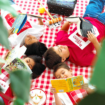 An outside picnic and reading time are great ways to keep kids busy.