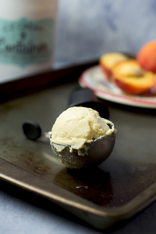 Eggless Peach Ice Cream