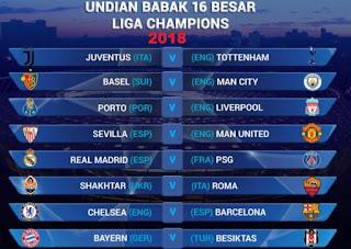 Jadwal Liga Champions Eropa 16 Besar 2018