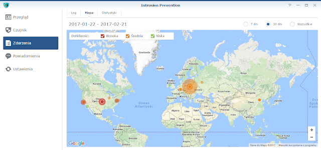 Mapa adresów IP powodujących alarmy w systemie Intrusion Prevention