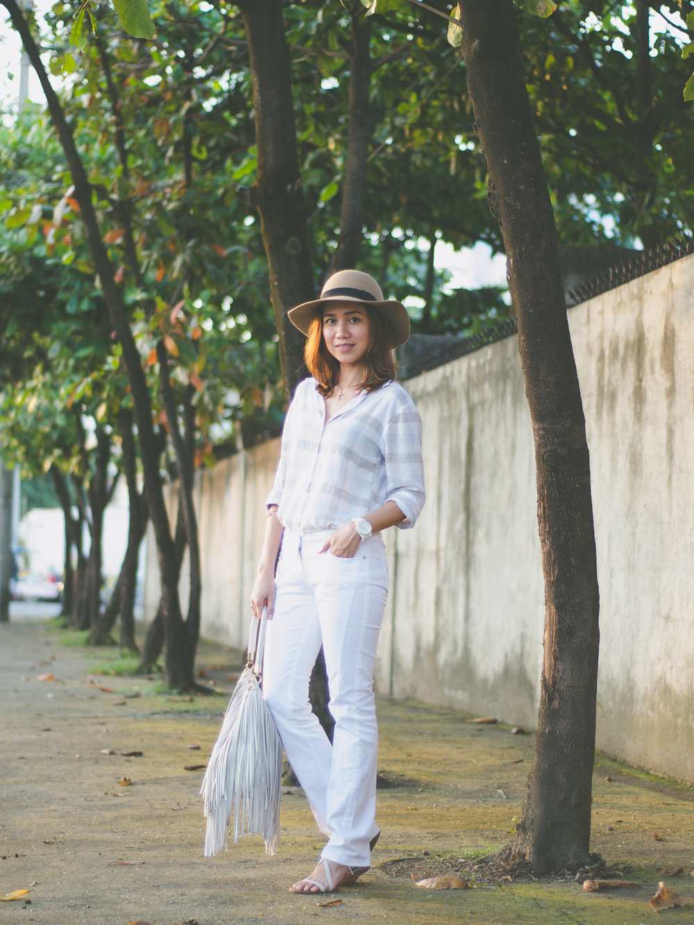 Linen top, linen polo shirt, women's linen shirt, all white outfit, summer look, summer dressing, summer ootd, cebu fashion bloggers, cebu blogger, cebu fashion, philippine street style, outfit, fringe bag, cebu blogs, toni pino-oca, life in the tropics, pandora bracelet, mango sandals, michael kors watch