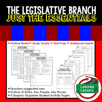 Legislative Branch Outline Notes, Civics Test Prep, Civics Test Review,Civics Study Guide, Civics Summer School Outline, Civics Unit Reviews, Civics Interactive Notebook Inserts
