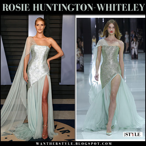 Rosie Huntington-Whiteley in mint one shoulder gown ralph russo at Vanity Fair Oscar party 2018 red carpet fashion