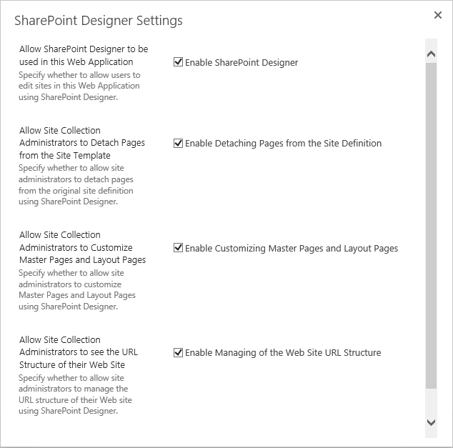 sharepoint 2013 disable sharepoint designer powershell