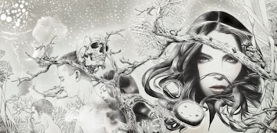 Dibujo a lápiz de mujer con  paisaje