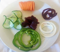 Plate of spiralised vegetables