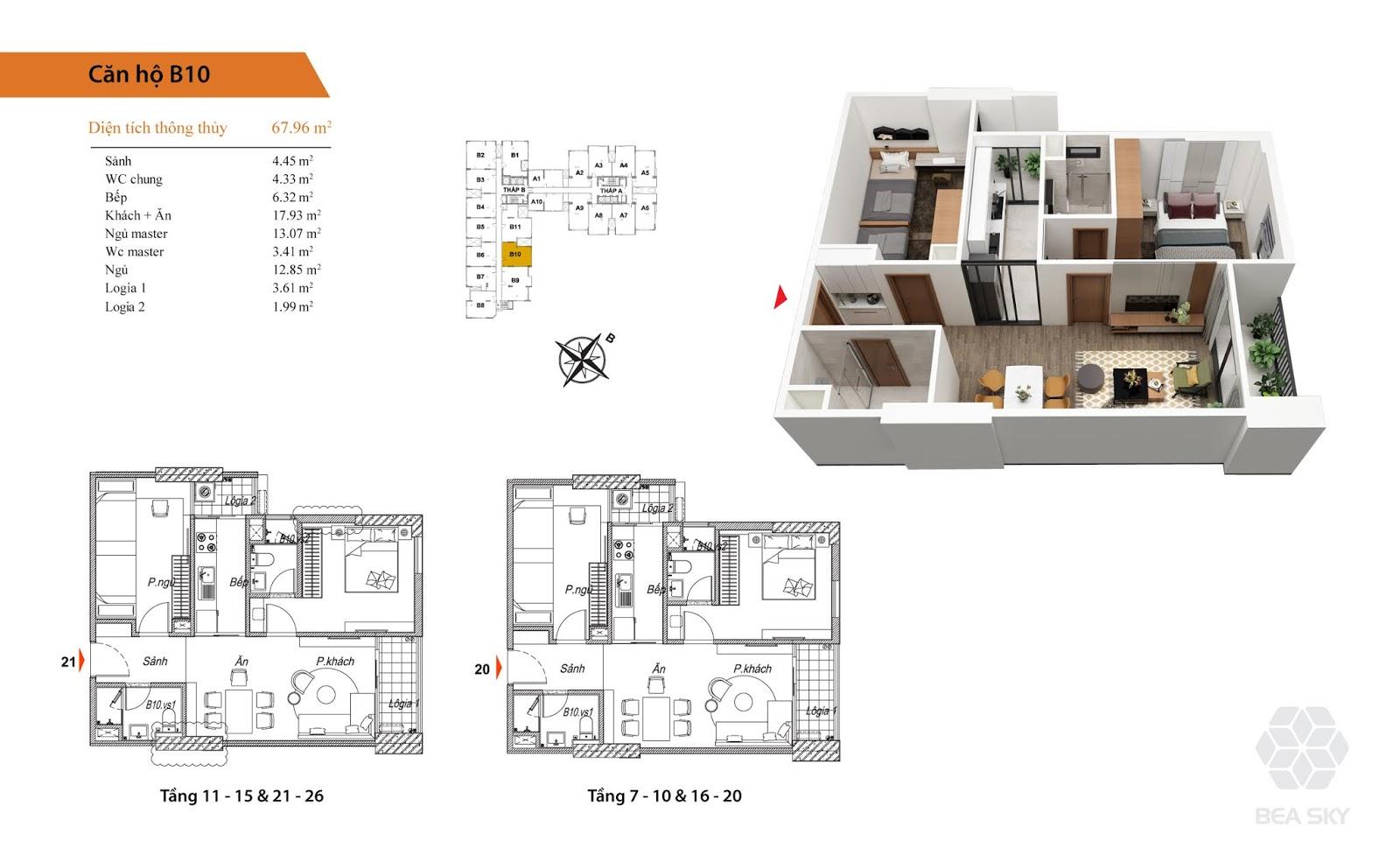 Thiết kế căn B10 chung cư Bea sky nguyễn xiển