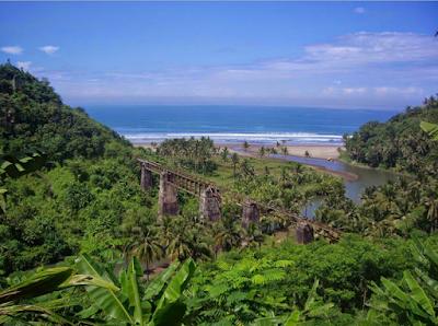 Pamandangan alam yang cantik di Rute kereta api Banjar - Pangandaran - Cijulang (.kaskus.co.id)