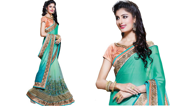 M.S.Retail Embroidered Bollywood Silk, Net Saree  (Light Green)