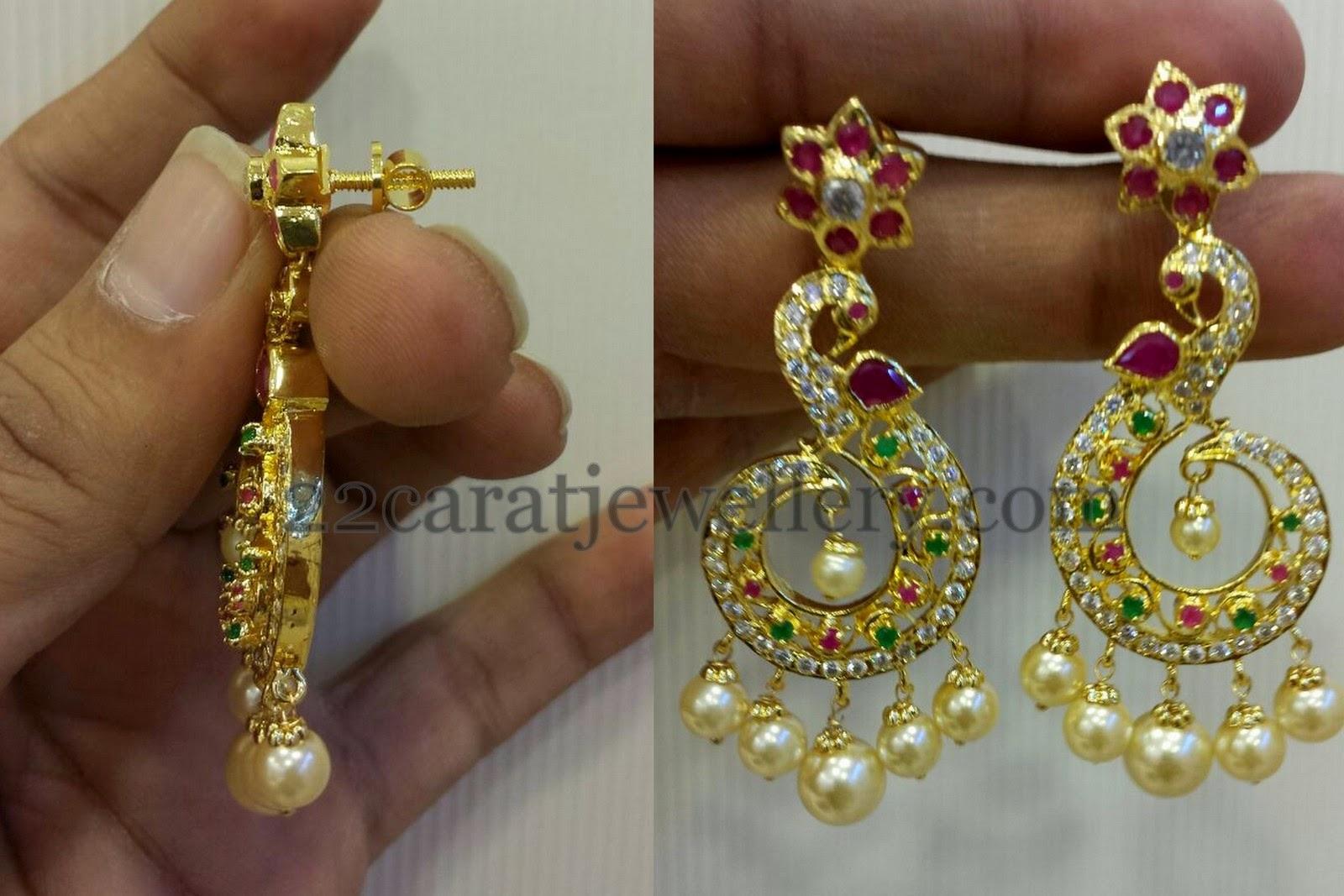 Imitation Pretty Peacock Chandbalis - Jewellery Designs