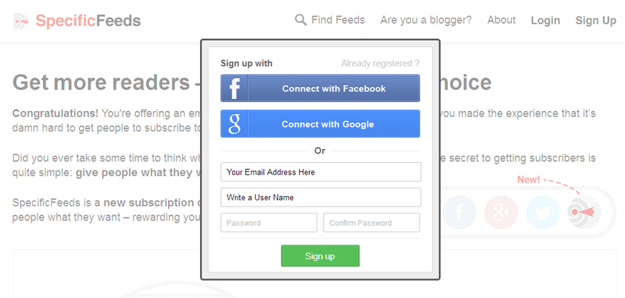 signup with specificfeeds to list your blog