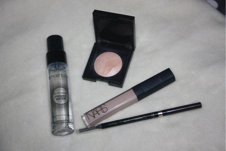 makeup staples, loreal brow stylist, smashbox primer water, nars radiant creamy concealer, Laura mercier matte radiance 01 golden bronze
