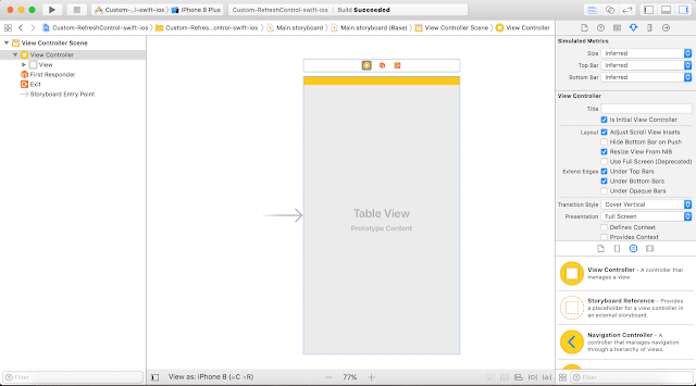Adding UITableView on to the view  - custom UIRefreshcontrol swift