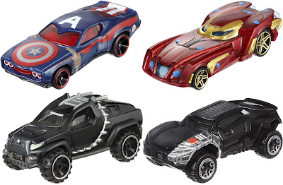 Marvel's Captain America Civil War Hot Wheels Cars Series - Captain America, Iron Man, Black Panther & Winter Soldier
