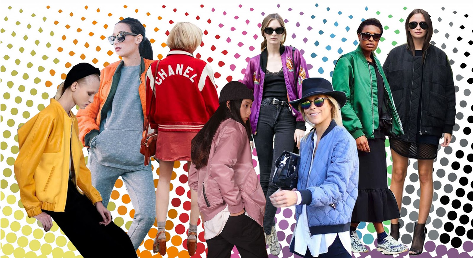 bomber jacket, donna wallace, columbine smille, happily grey, pandora sykes, street style, bombers, halftone, rainbow, graphic design, collage