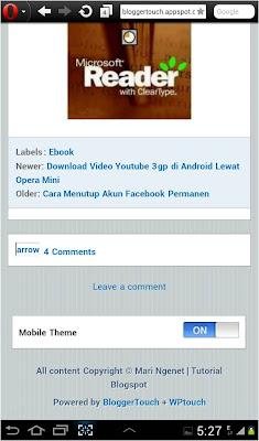 Cara Mengganti Tampilan Mobile Blogspot dengan Bloggertouch, merubah template mobile