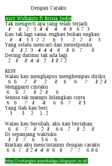 Not Angka Pianika Lagu Dengan Caraku Asry Widianto ft Brisia Jodie