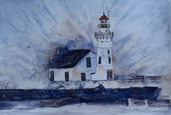 Lighthouse, Painting by Swasti Verma (part of the portfolio on www.indiaart.com)