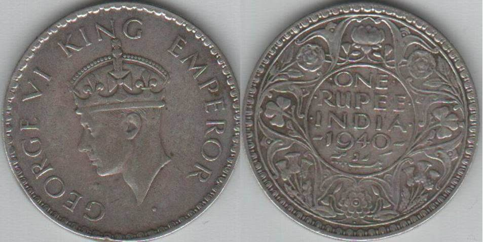 1940 one rupee silver coin value
