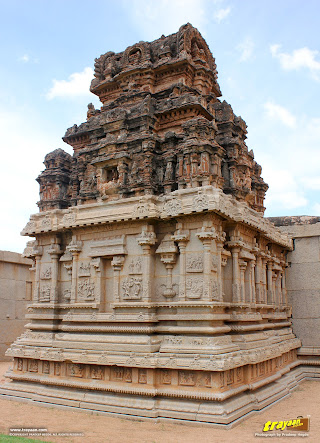 A close up of the ornate Devi shrine in Hazara Rama temple in Hampi, Ballari district, Karnataka, India