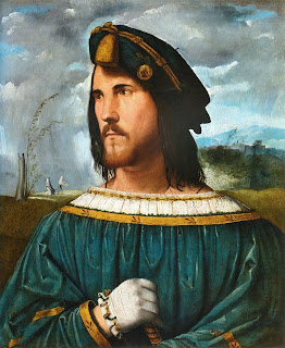 Altobello Melone's portrait of Cesare Borgia, which  can be found in Bergamo's Accademia Carrara