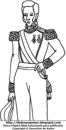 Dibujo de José de la Mar casi de cuerpo entero para colorear pintar. José de la Mar hecho por Jesus Gómez