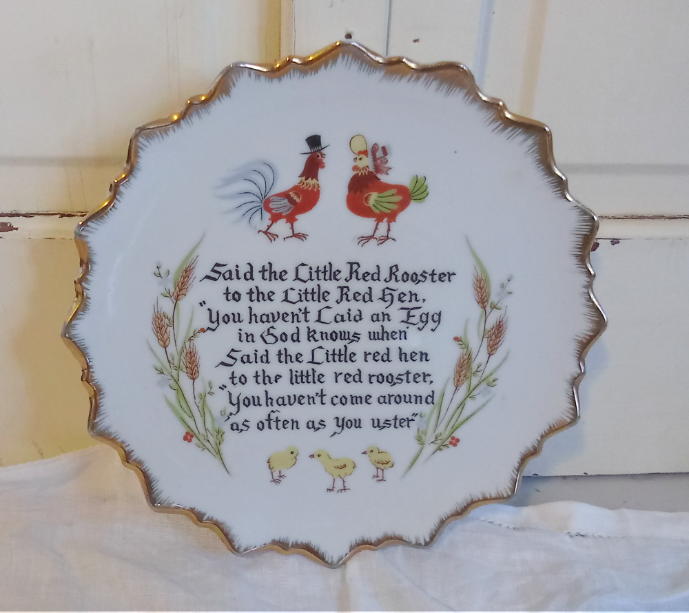 Little Red Rooster Poem plate