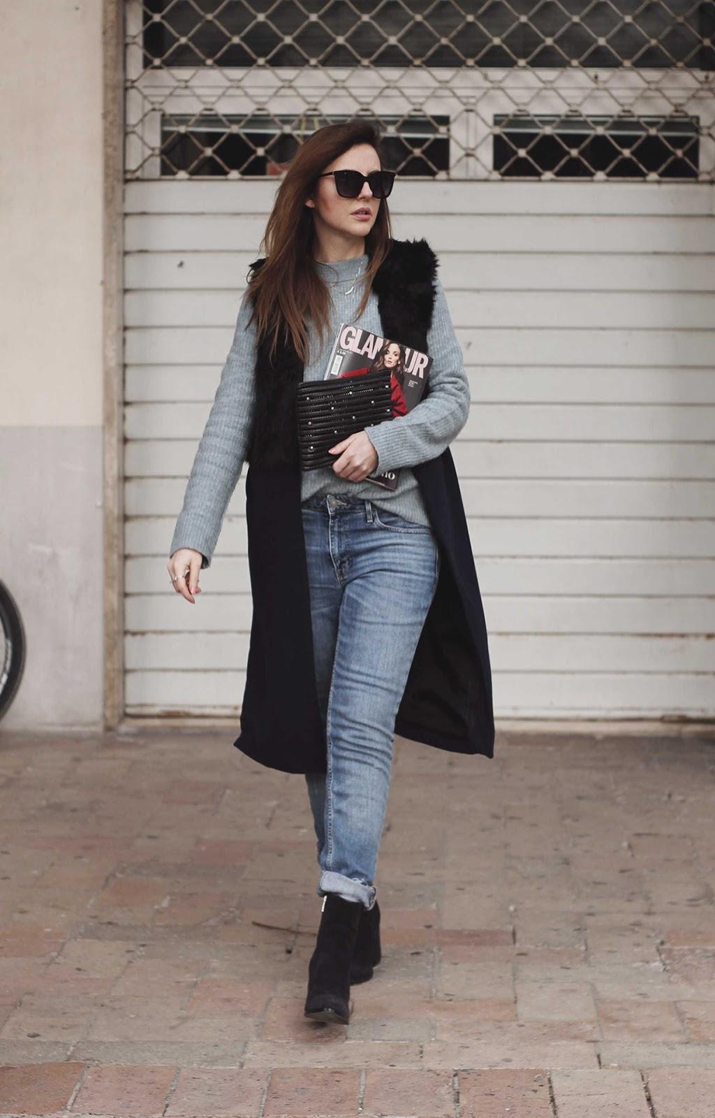 long fur vest outfit