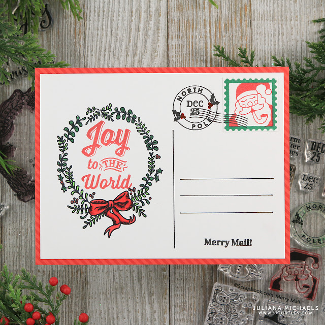Joy To The World Merry Mail Christmas Postcards by Juliana Michaels featuring Scrapbook.com Exclusive Stamp Set Merry Mail, Rustic Wreaths and Holly Jolly Sentiments