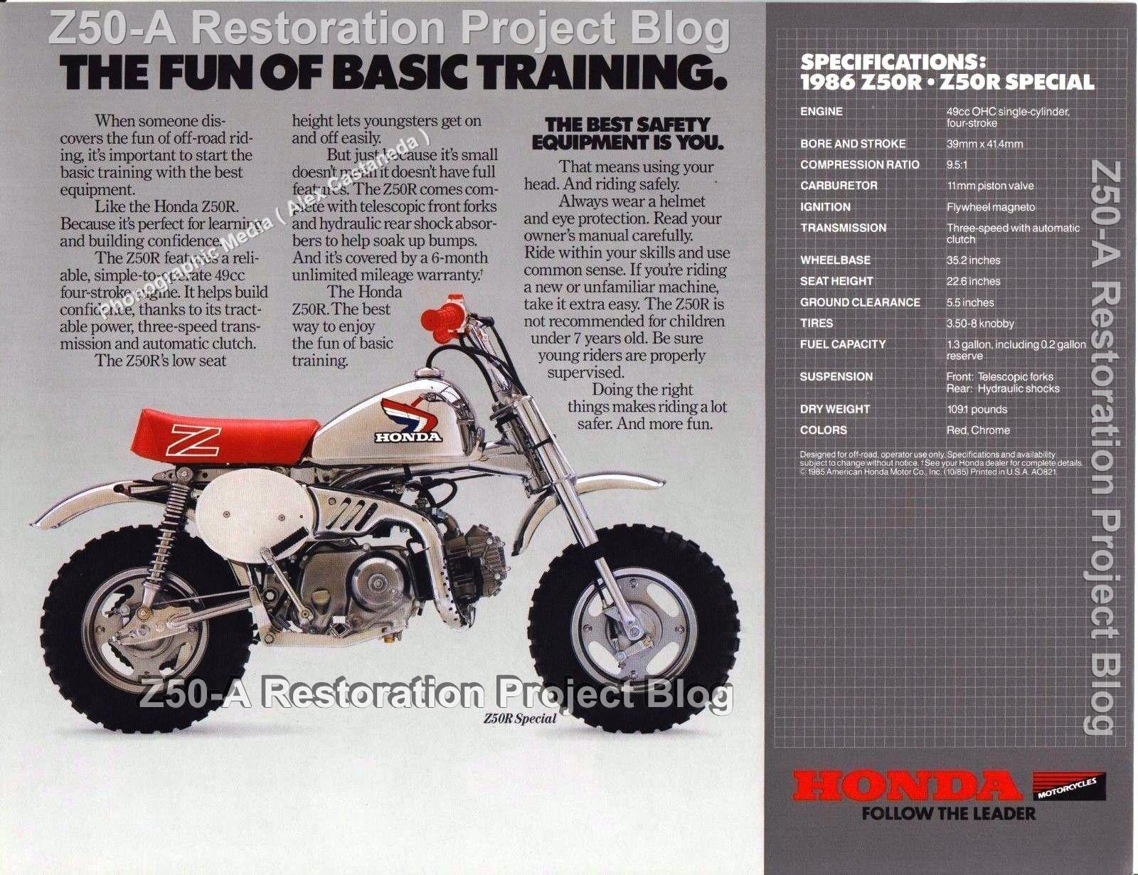 brochure 1986 z50 rd christmas special 30 year anniversary rh z50a restoration project blogspot com honda z50 manual clutch kit honda z50 manual clutch kit