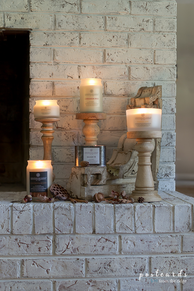 Fall candles on the hearth