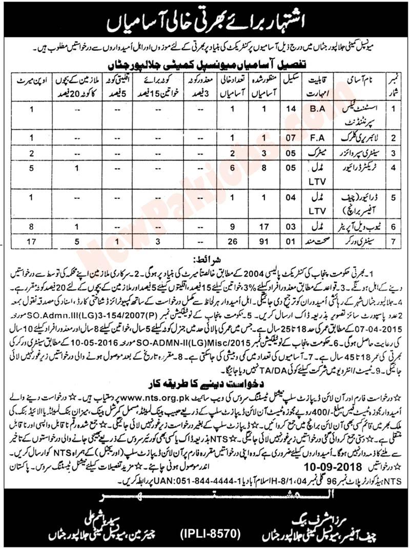 122 NTs jobs in Municipal Committee Jalalpur Jattan