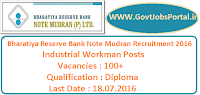 Bharatiya Reserve Bank Note Mudran Recruitment 2016 for 100+ Industrial Workman Posts