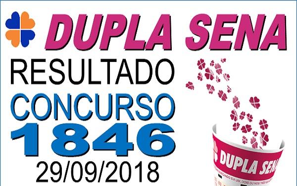 Resultado da Dupla Sena concurso 1846 de 29/09/2018 (Imagem: Informe Notícias)