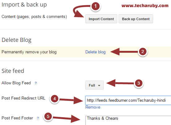 blogger important settings