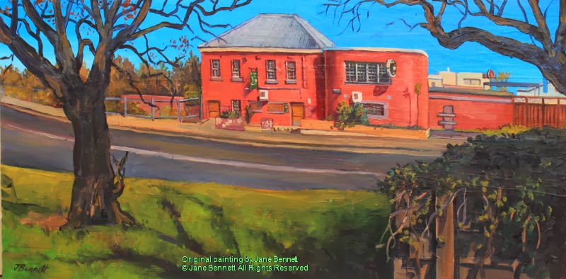 "plein air oil painting of the abandoned hotel ""Jolly Frog"" in Windsor by artist Jane Bennett"
