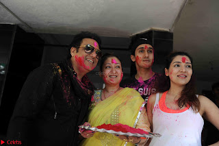 Govinda celeting Holi with His family wife daughter 008.JPG