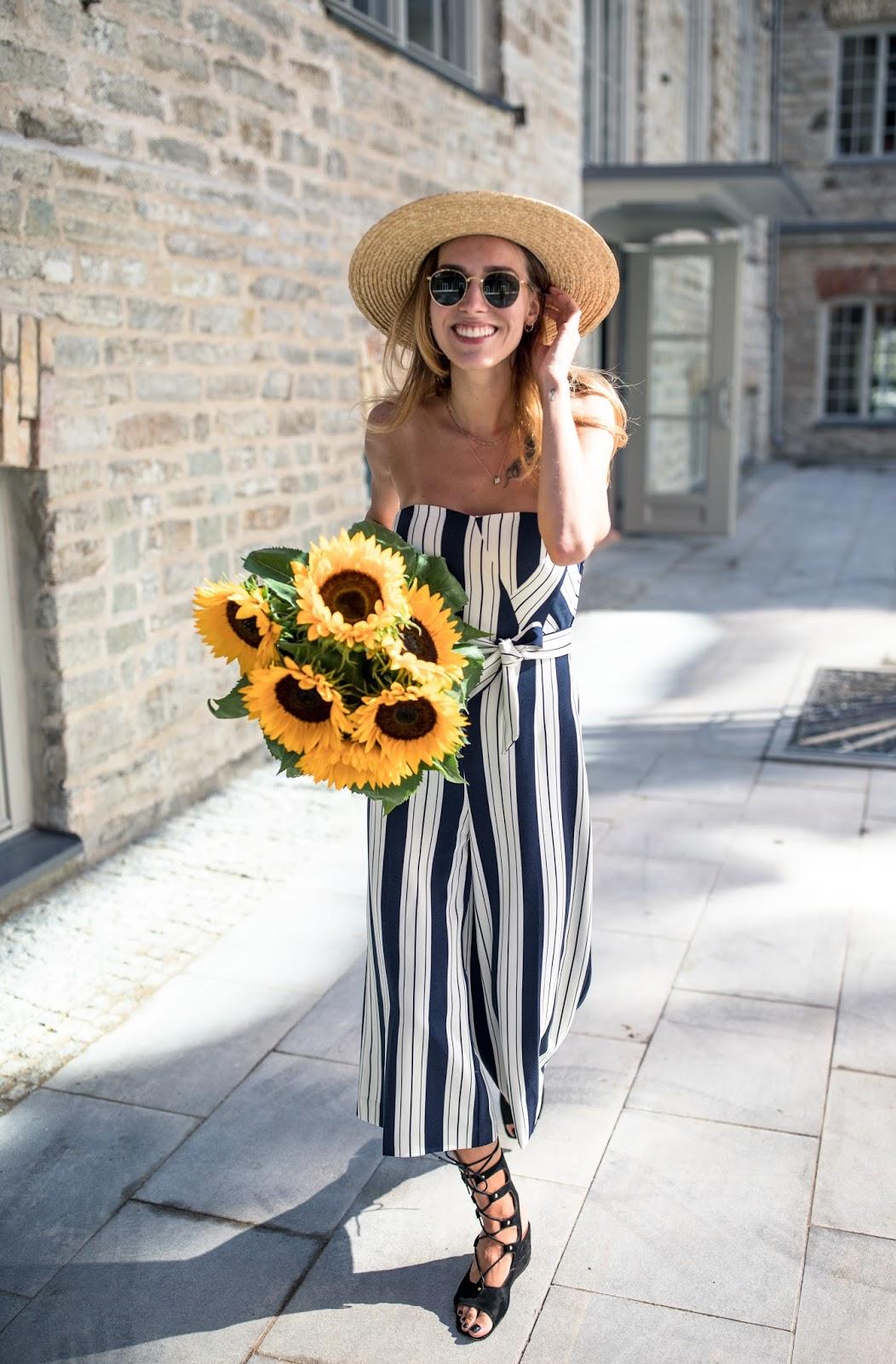 stripe culotte jumpsuit outfit