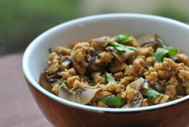 Size Zero Vegan Rezept: Sojaschnetzel mit Pilzen