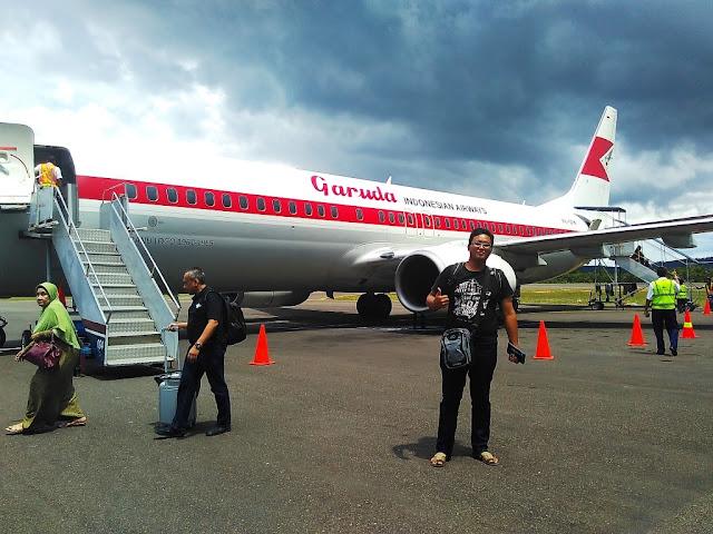 Nyampai di Belitung dengan Garuda Livery Calssic