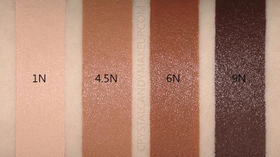 Dior Forever Skin Glow 24h Wear Radiant Foundation Swatches 1N 4.5N 6N 9N MAC NW20 NW45 NW55