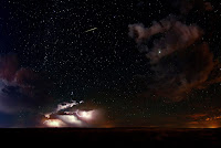 Perseid Meteor, Lightning, Sky, Stars, Jupiter and Andromeda Galaxy