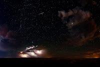 Perseid Meteor, Lightning, Sky, Stars, Jupiter and Andromeda Galaxy