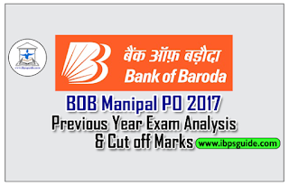 Bank of Baroda Manipal PO 2017 – Previous Year Exam Analysis & Cut off Marks